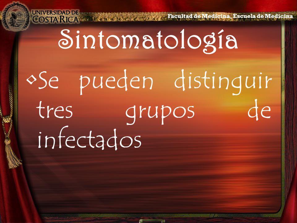 Sintomatología Se pueden distinguir tres grupos de infectados Facultad de Medicina, Escuela de Medicina
