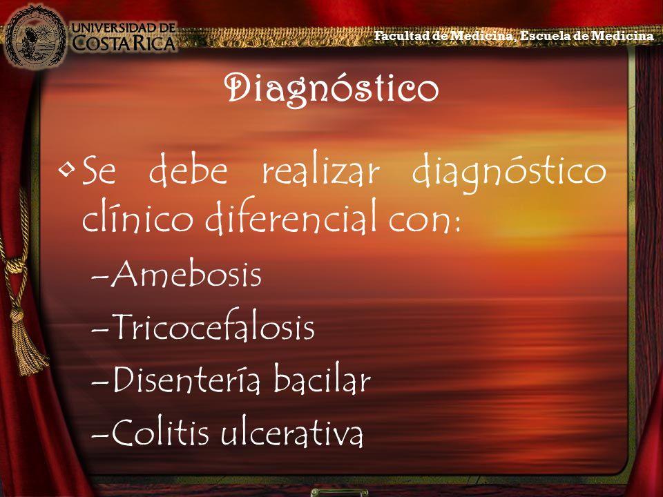 Diagnóstico Se debe realizar diagnóstico clínico diferencial con: –Amebosis –Tricocefalosis –Disentería bacilar –Colitis ulcerativa Facultad de Medici