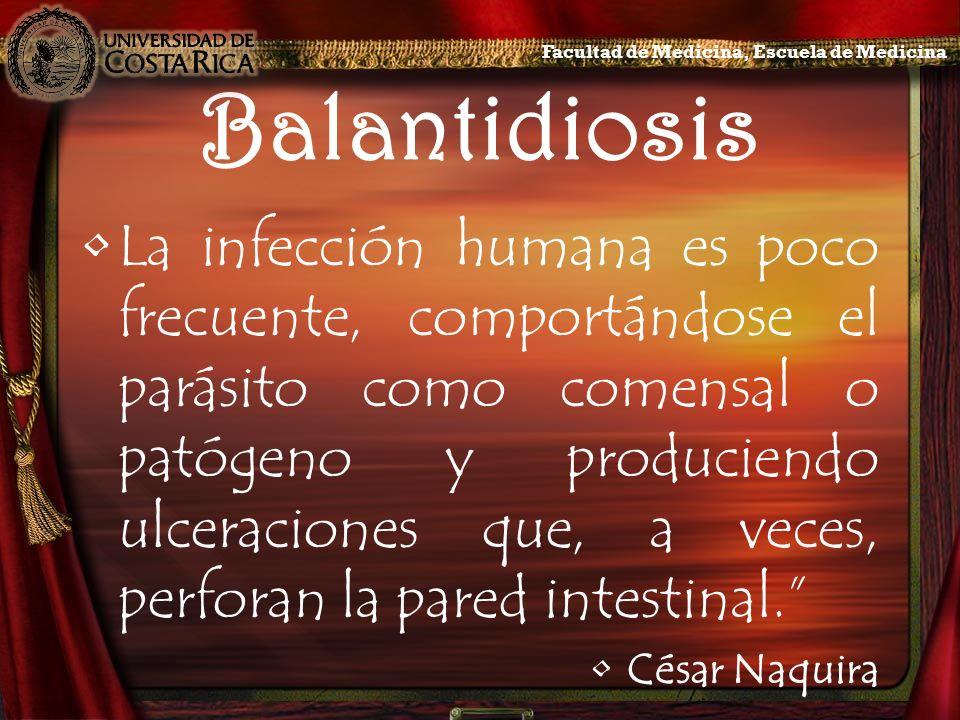 Sintomatología Es posible observar en los cuadros de balantidiosis: –Anorexia –Cefalea –Insomnio –Astenia –Pérdida de peso Facultad de Medicina, Escuela de Medicina