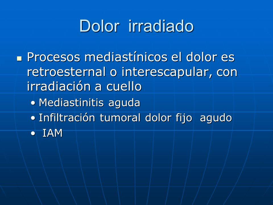 Dolor irradiado Procesos mediastínicos el dolor es retroesternal o interescapular, con irradiación a cuello Procesos mediastínicos el dolor es retroes