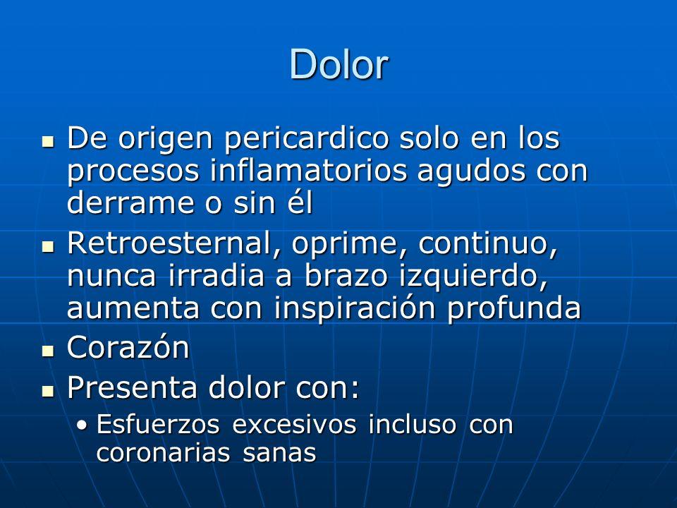Dolor De origen pericardico solo en los procesos inflamatorios agudos con derrame o sin él De origen pericardico solo en los procesos inflamatorios ag