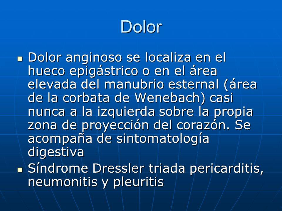 Dolor Dolor anginoso se localiza en el hueco epigástrico o en el área elevada del manubrio esternal (área de la corbata de Wenebach) casi nunca a la i