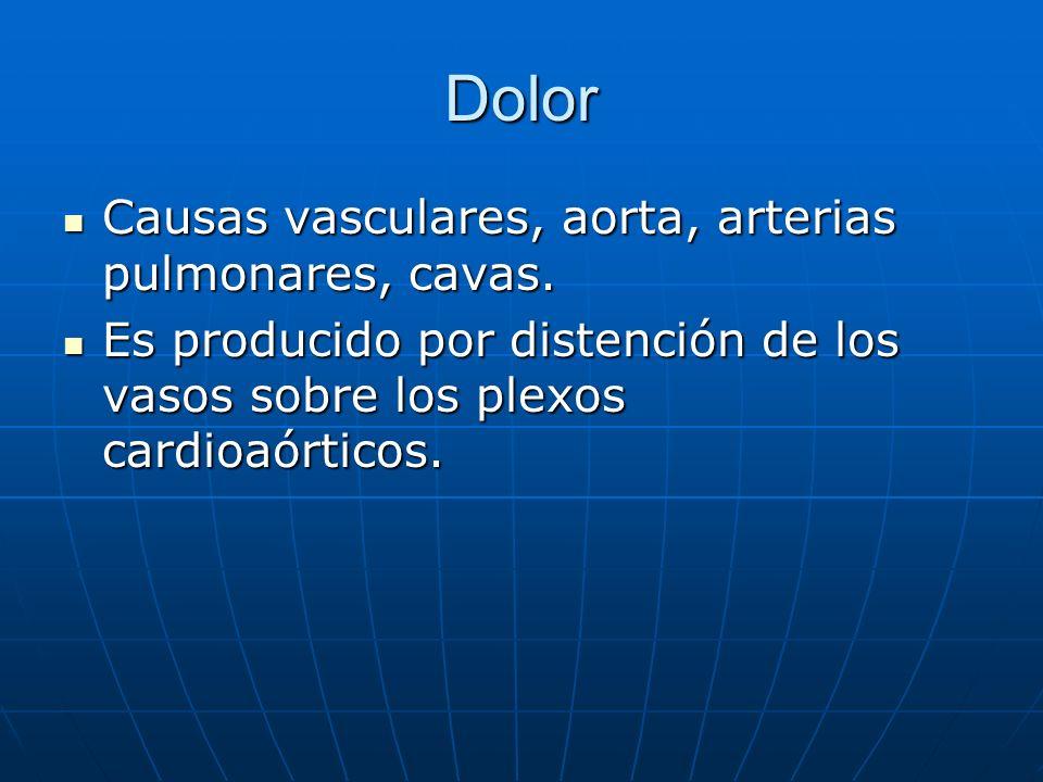 Dolor Causas vasculares, aorta, arterias pulmonares, cavas. Causas vasculares, aorta, arterias pulmonares, cavas. Es producido por distención de los v