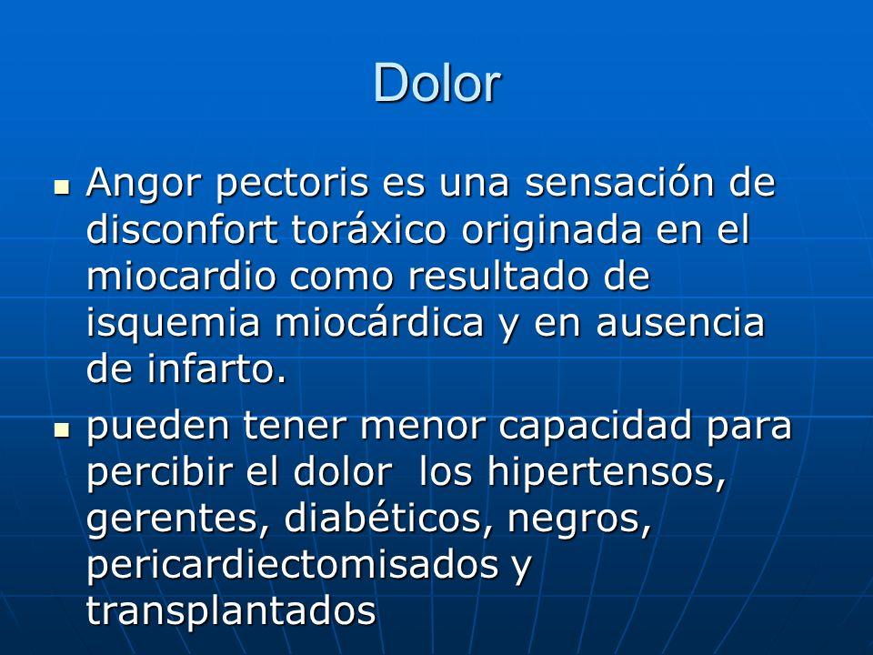 Dolor Angor pectoris es una sensación de disconfort toráxico originada en el miocardio como resultado de isquemia miocárdica y en ausencia de infarto.