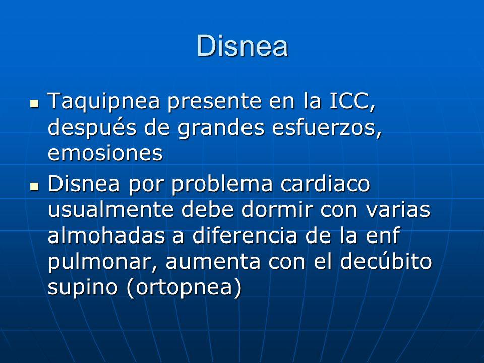 Disnea Taquipnea presente en la ICC, después de grandes esfuerzos, emosiones Taquipnea presente en la ICC, después de grandes esfuerzos, emosiones Dis