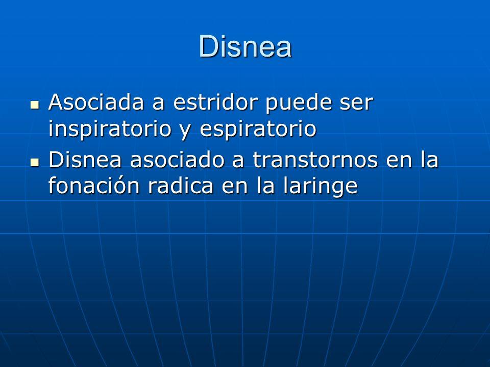 Disnea Asociada a estridor puede ser inspiratorio y espiratorio Asociada a estridor puede ser inspiratorio y espiratorio Disnea asociado a transtornos