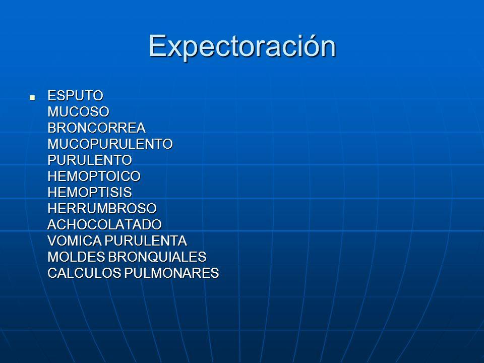 Expectoración ESPUTO MUCOSO BRONCORREA MUCOPURULENTO PURULENTO HEMOPTOICO HEMOPTISIS HERRUMBROSO ACHOCOLATADO VOMICA PURULENTA MOLDES BRONQUIALES CALC