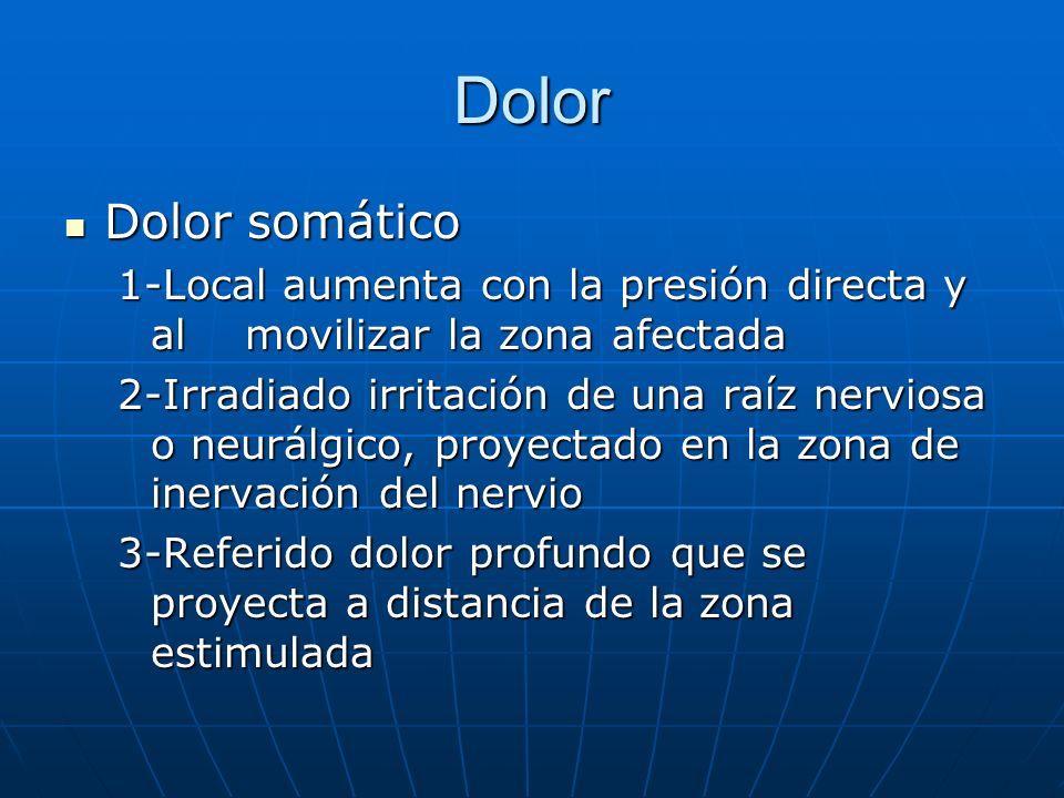 Dolor Dolor somático Dolor somático 1-Local aumenta con la presión directa y al movilizar la zona afectada 2-Irradiado irritación de una raíz nerviosa