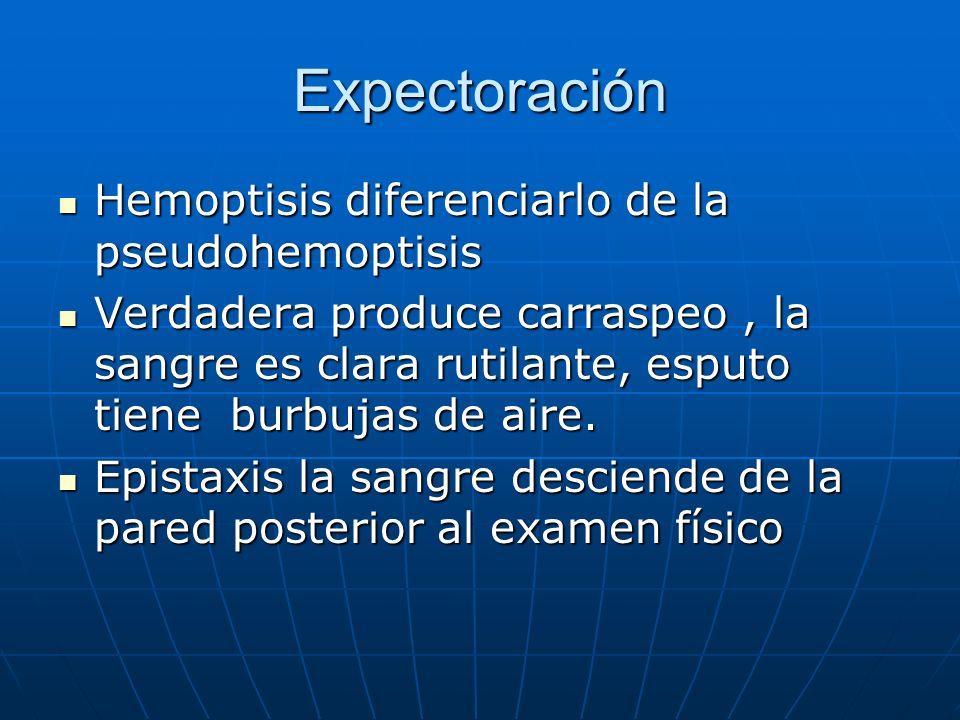 Expectoración Hemoptisis diferenciarlo de la pseudohemoptisis Hemoptisis diferenciarlo de la pseudohemoptisis Verdadera produce carraspeo, la sangre e