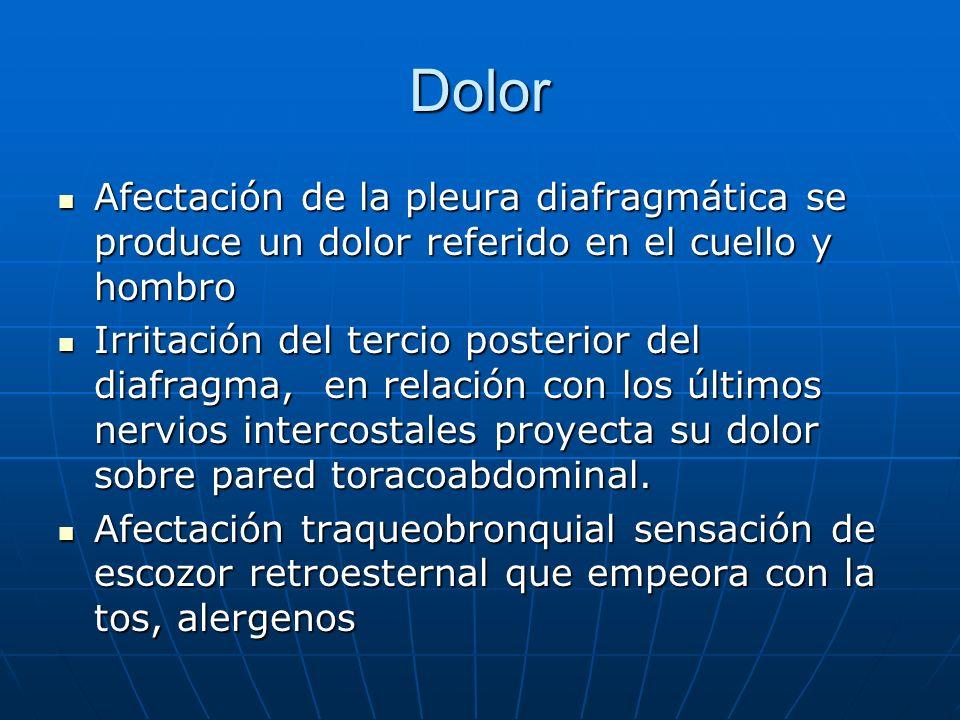 Dolor Afectación de la pleura diafragmática se produce un dolor referido en el cuello y hombro Afectación de la pleura diafragmática se produce un dol
