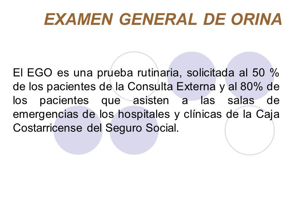 EXAMEN GENERAL DE ORINA El EGO es una prueba rutinaria, solicitada al 50 % de los pacientes de la Consulta Externa y al 80% de los pacientes que asist