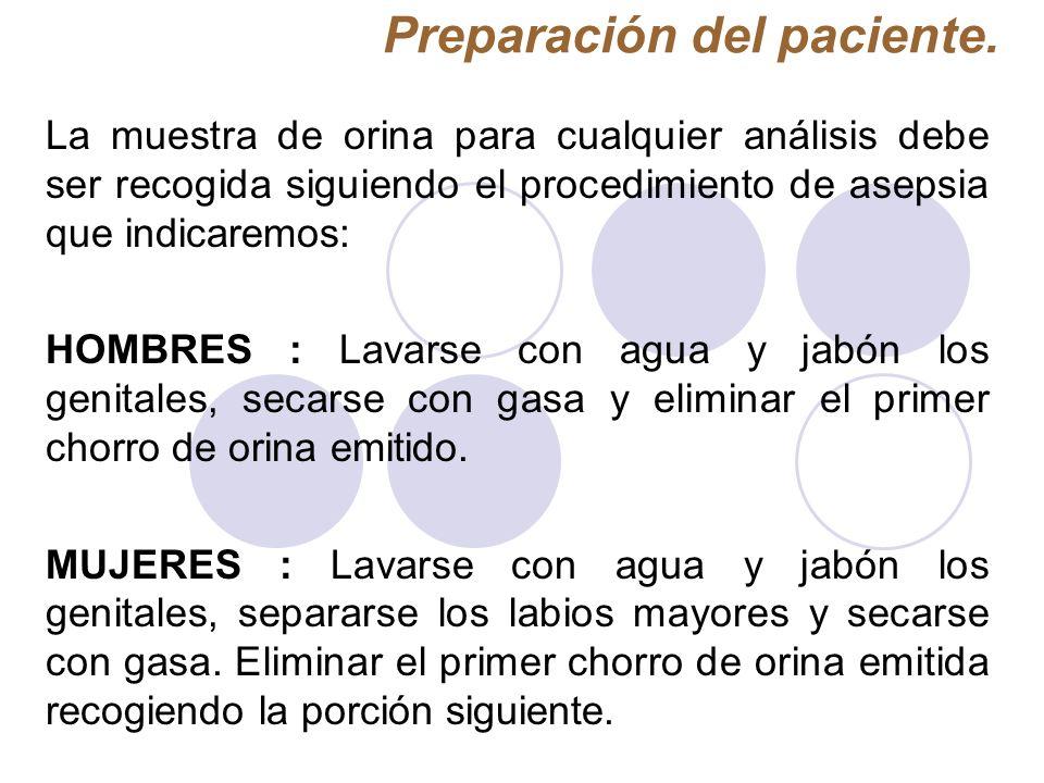 Preparación del paciente. La muestra de orina para cualquier análisis debe ser recogida siguiendo el procedimiento de asepsia que indicaremos: HOMBRES