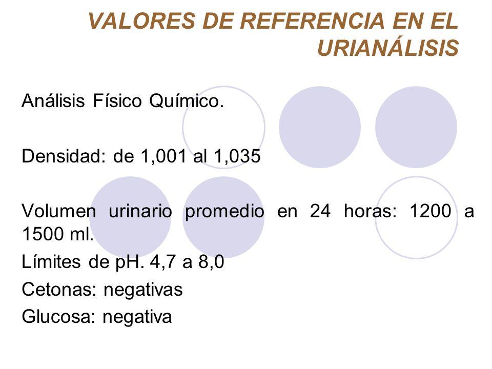 VALORES DE REFERENCIA EN EL URIANÁLISIS Análisis Físico Químico. Densidad: de 1,001 al 1,035 Volumen urinario promedio en 24 horas: 1200 a 1500 ml. Lí