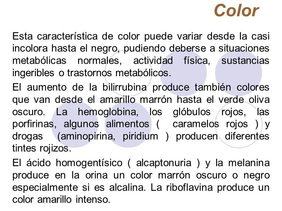Color Esta característica de color puede variar desde la casi incolora hasta el negro, pudiendo deberse a situaciones metabólicas normales, actividad
