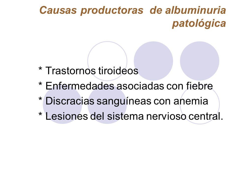 Causas productoras de albuminuria patológica * Trastornos tiroideos * Enfermedades asociadas con fiebre * Discracias sanguíneas con anemia * Lesiones