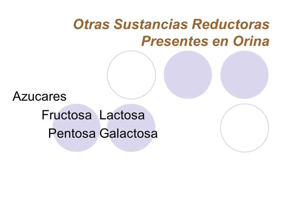 Otras Sustancias Reductoras Presentes en Orina Azucares FructosaLactosa PentosaGalactosa