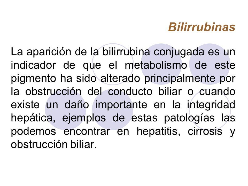 Bilirrubinas La aparición de la bilirrubina conjugada es un indicador de que el metabolismo de este pigmento ha sido alterado principalmente por la ob