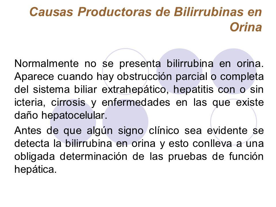 Causas Productoras de Bilirrubinas en Orina Normalmente no se presenta bilirrubina en orina. Aparece cuando hay obstrucción parcial o completa del sis