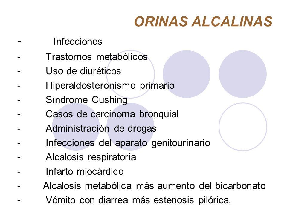 ORINAS ALCALINAS - Infecciones - Trastornos metabólicos - Uso de diuréticos - Hiperaldosteronismo primario - Síndrome Cushing - Casos de carcinoma bro
