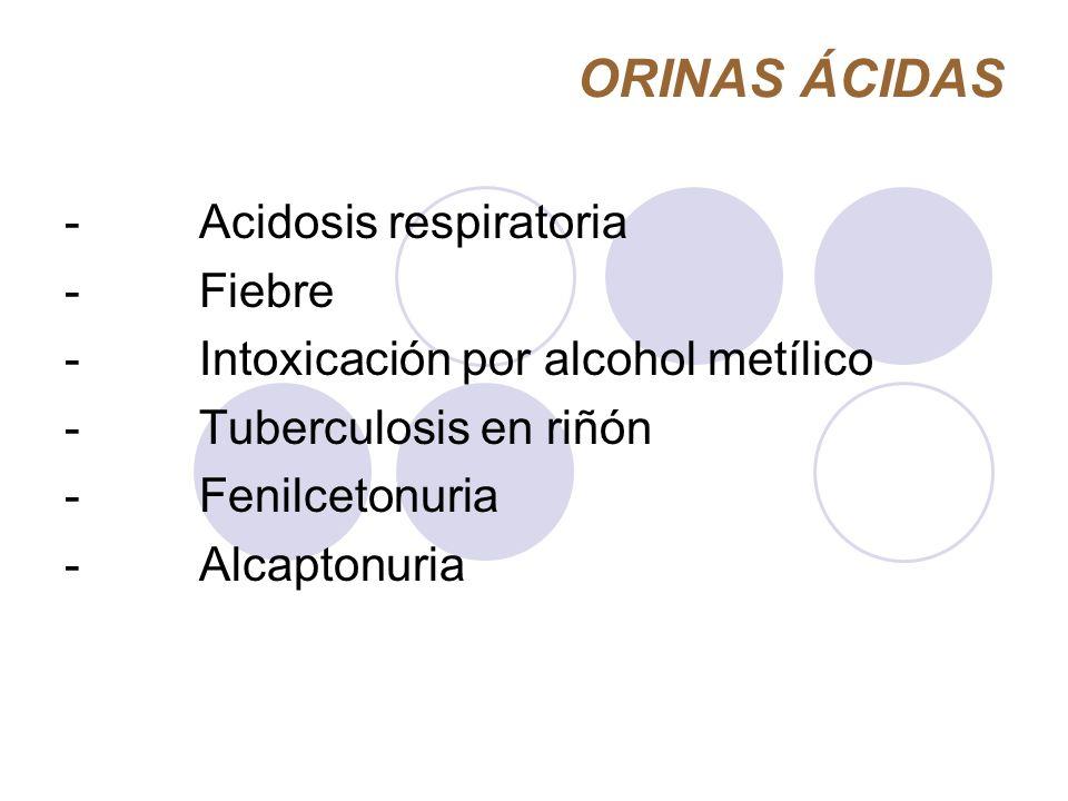 ORINAS ÁCIDAS - Acidosis respiratoria - Fiebre - Intoxicación por alcohol metílico - Tuberculosis en riñón - Fenilcetonuria - Alcaptonuria