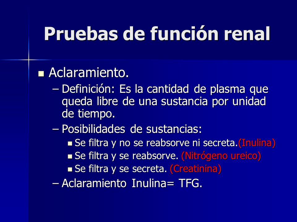 Pruebas de función renal Aclaramiento. Aclaramiento. –Definición: Es la cantidad de plasma que queda libre de una sustancia por unidad de tiempo. –Pos
