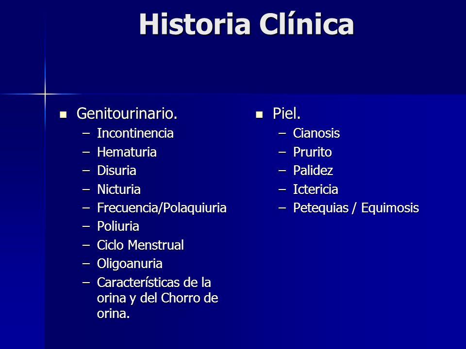 Historia Clínica Genitourinario. Genitourinario. –Incontinencia –Hematuria –Disuria –Nicturia –Frecuencia/Polaquiuria –Poliuria –Ciclo Menstrual –Olig