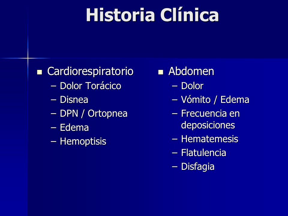 Historia Clínica Cardiorespiratorio Cardiorespiratorio –Dolor Torácico –Disnea –DPN / Ortopnea –Edema –Hemoptisis Abdomen Abdomen –Dolor –Vómito / Ede