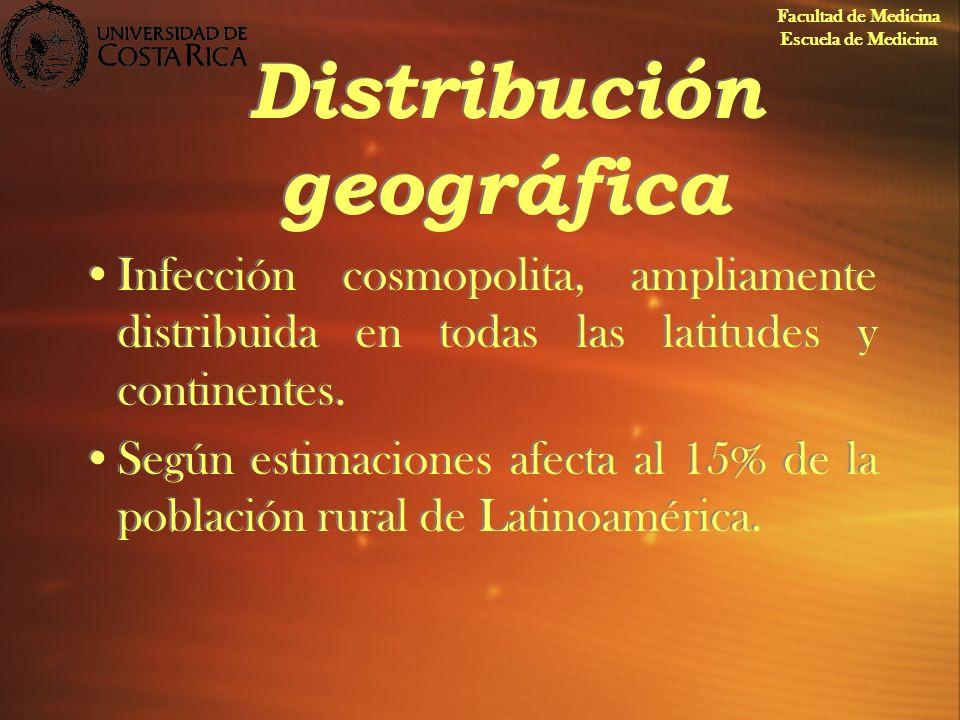 Distribución geográfica Infección cosmopolita, ampliamente distribuida en todas las latitudes y continentes. Según estimaciones afecta al 15% de la po