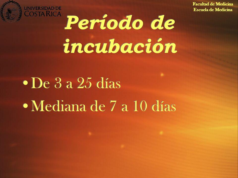 Período de incubación De 3 a 25 días Mediana de 7 a 10 días De 3 a 25 días Mediana de 7 a 10 días Facultad de Medicina Escuela de Medicina