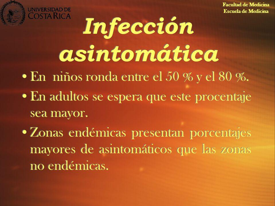 Infección asintomática En niños ronda entre el 50 % y el 80 %. En adultos se espera que este procentaje sea mayor. Zonas endémicas presentan porcentaj