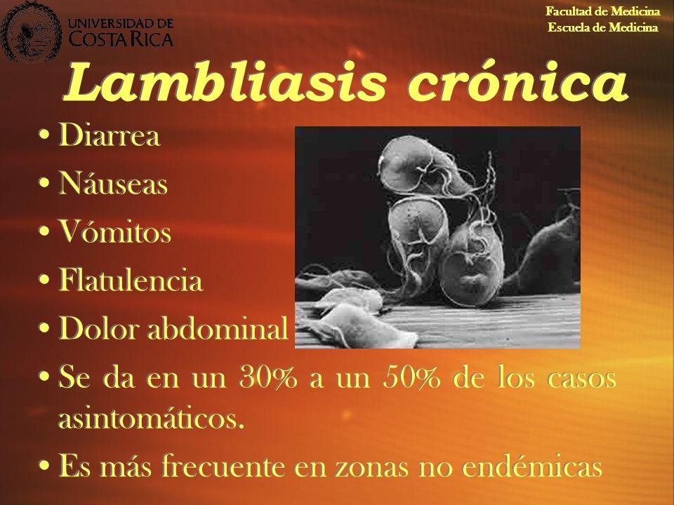 Lambliasis crónica Diarrea Náuseas Vómitos Flatulencia Dolor abdominal Se da en un 30% a un 50% de los casos asintomáticos. Es más frecuente en zonas