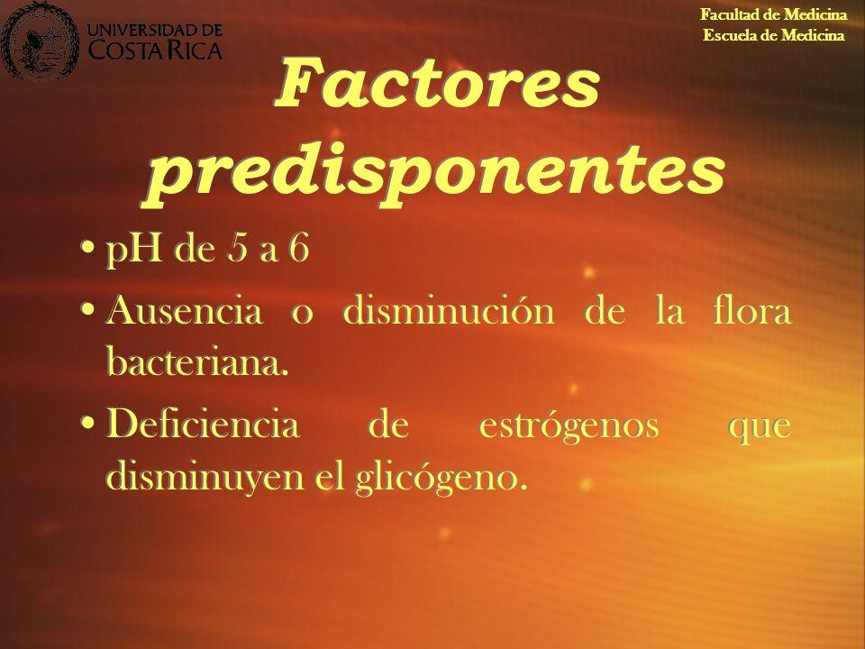 Factores predisponentes pH de 5 a 6 Ausencia o disminución de la flora bacteriana. Deficiencia de estrógenos que disminuyen el glicógeno. pH de 5 a 6
