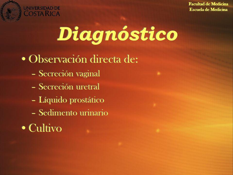 Diagnóstico Observación directa de: –Secreción vaginal –Secreción uretral –Líquido prostático –Sedimento urinario Cultivo Observación directa de: –Sec