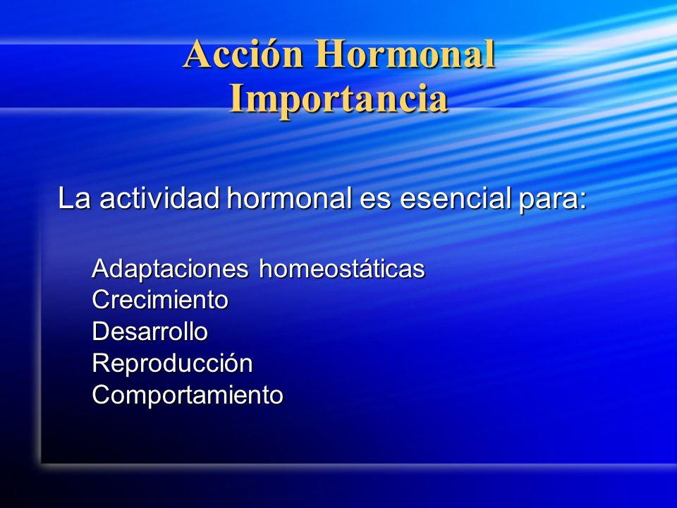 Acción Hormonal Importancia La actividad hormonal es esencial para: Adaptaciones homeostáticas CrecimientoDesarrolloReproducciónComportamiento