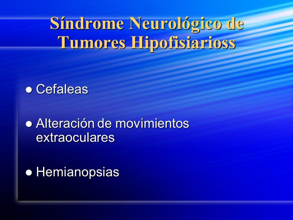 Síndrome Neurológico de Tumores Hipofisiarioss Cefaleas Cefaleas Alteración de movimientos extraoculares Alteración de movimientos extraoculares Hemia
