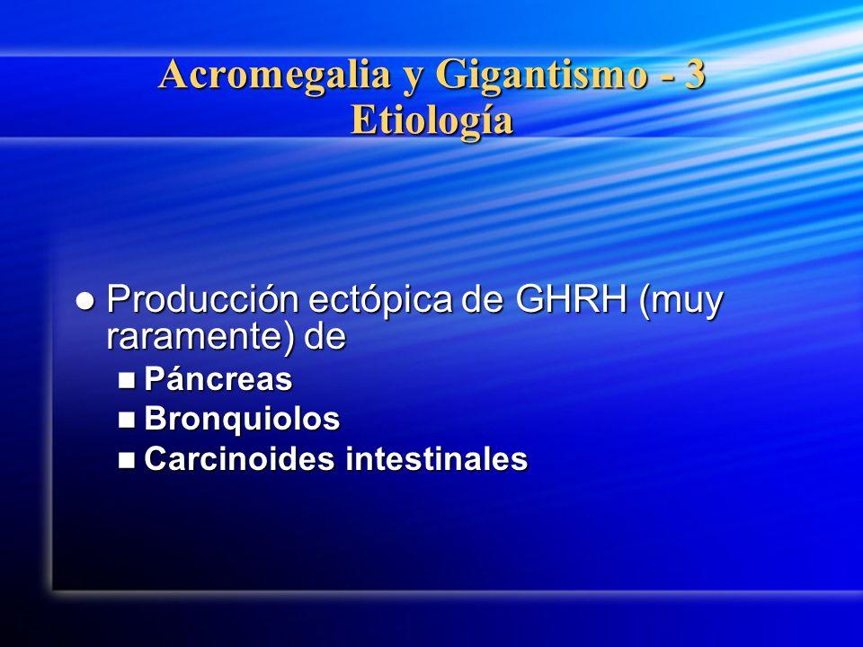 Acromegalia y Gigantismo - 3 Etiología Producción ectópica de GHRH (muy raramente) de Producción ectópica de GHRH (muy raramente) de Páncreas Páncreas