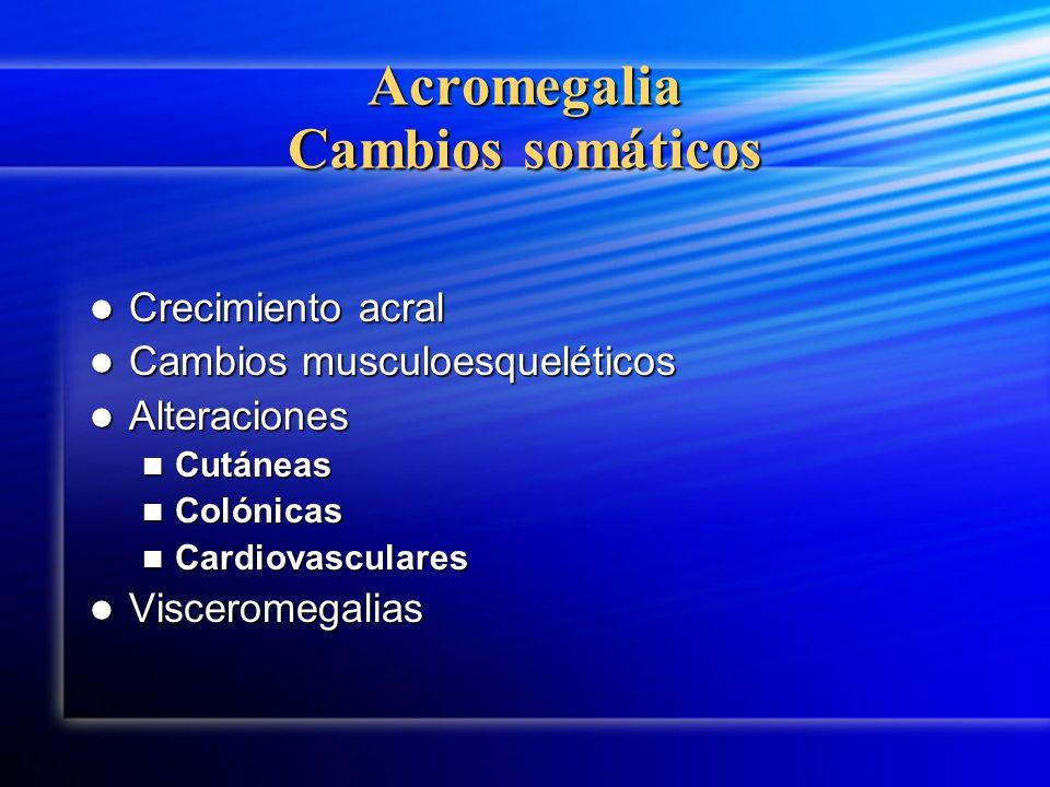 Acromegalia Cambios somáticos Crecimiento acral Crecimiento acral Cambios musculoesqueléticos Cambios musculoesqueléticos Alteraciones Alteraciones Cu