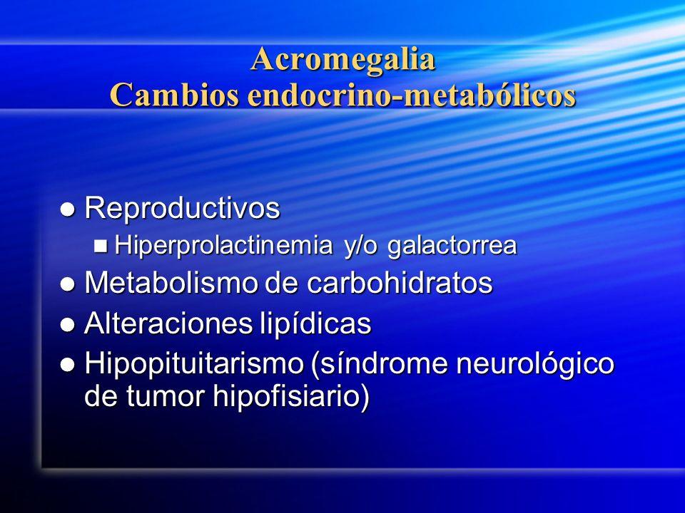 Acromegalia Cambios endocrino-metabólicos Reproductivos Reproductivos Hiperprolactinemia y/o galactorrea Hiperprolactinemia y/o galactorrea Metabolism