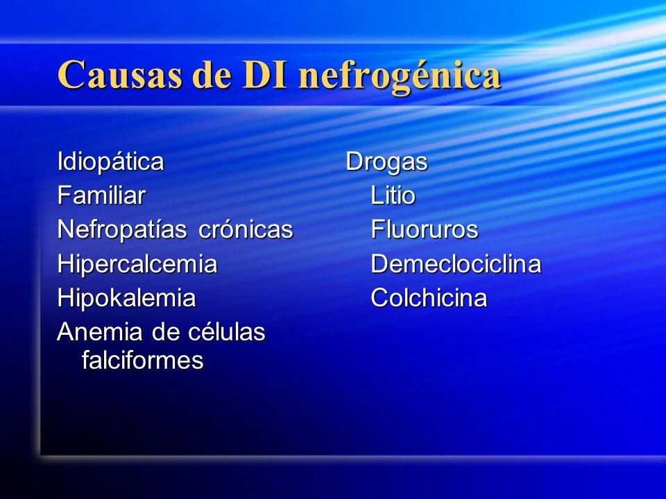 Causas de DI nefrogénica IdiopáticaFamiliar Nefropatías crónicas HipercalcemiaHipokalemia Anemia de células falciformes Drogas Litio Fluoruros Demeclo