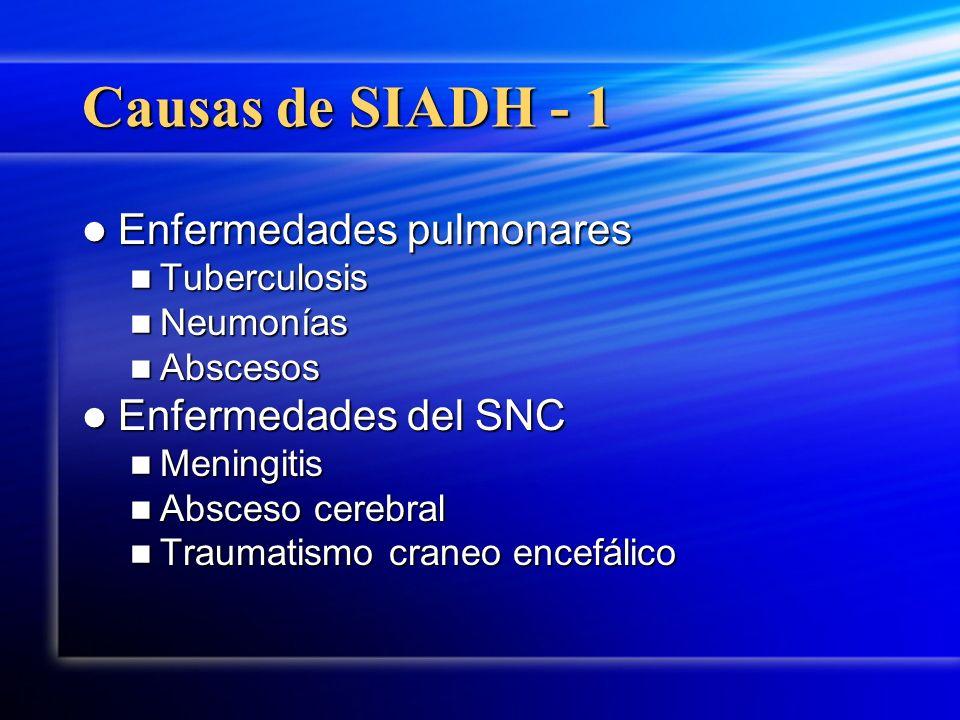 Causas de SIADH - 1 Enfermedades pulmonares Enfermedades pulmonares Tuberculosis Tuberculosis Neumonías Neumonías Abscesos Abscesos Enfermedades del S