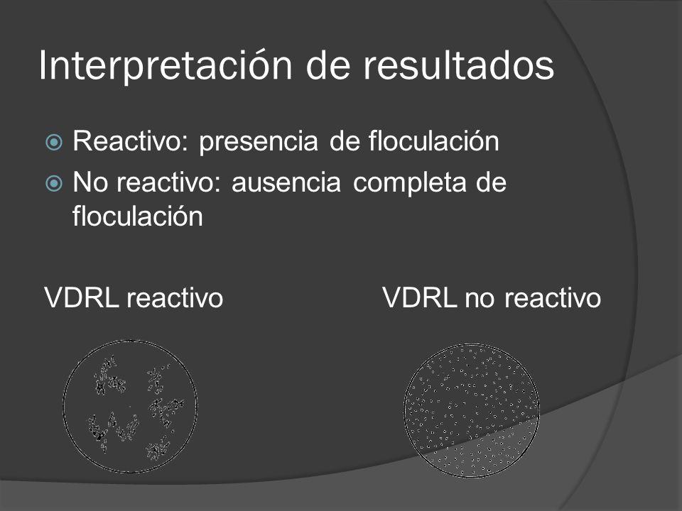 Interpretación de resultados Reactivo: presencia de floculación No reactivo: ausencia completa de floculación VDRL reactivoVDRL no reactivo
