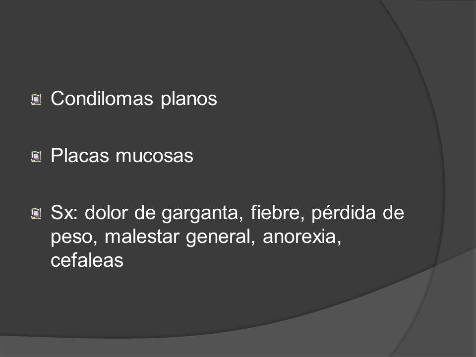 Condilomas planos Placas mucosas Sx: dolor de garganta, fiebre, pérdida de peso, malestar general, anorexia, cefaleas
