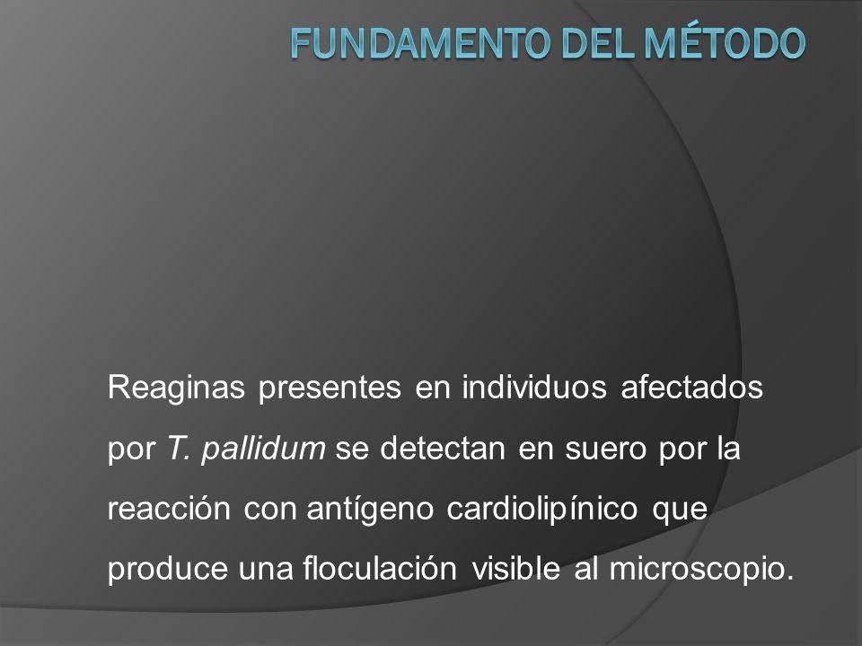 Reaginas presentes en individuos afectados por T. pallidum se detectan en suero por la reacción con antígeno cardiolipínico que produce una floculació