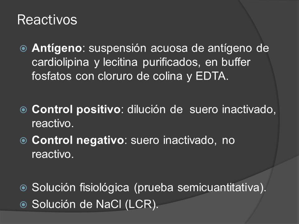 Reactivos Antígeno: suspensión acuosa de antígeno de cardiolipina y lecitina purificados, en buffer fosfatos con cloruro de colina y EDTA. Control pos
