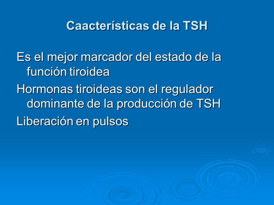 Caacterísticas de la TSH Es el mejor marcador del estado de la función tiroidea Hormonas tiroideas son el regulador dominante de la producción de TSH