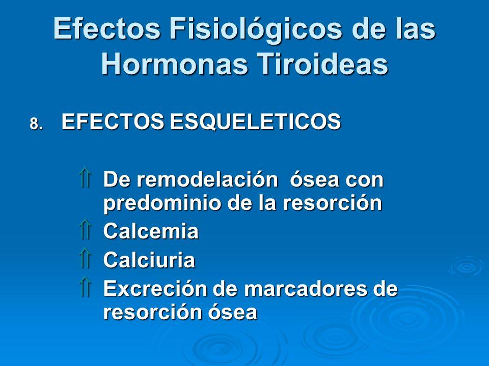 Efectos Fisiológicos de las Hormonas Tiroideas 8. EFECTOS ESQUELETICOS De remodelación ósea con predominio de la resorción De remodelación ósea con pr