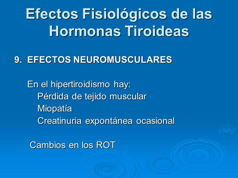 Efectos Fisiológicos de las Hormonas Tiroideas 9. EFECTOS NEUROMUSCULARES En el hipertiroidismo hay: En el hipertiroidismo hay: Pérdida de tejido musc