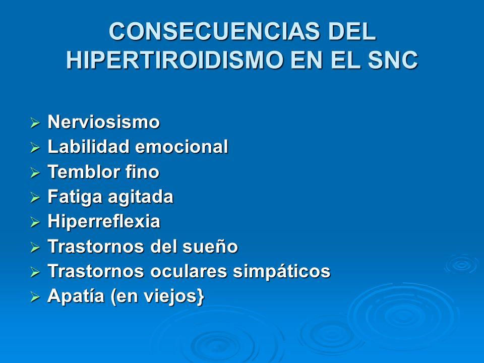 CONSECUENCIAS DEL HIPERTIROIDISMO EN EL SNC Nerviosismo Nerviosismo Labilidad emocional Labilidad emocional Temblor fino Temblor fino Fatiga agitada F