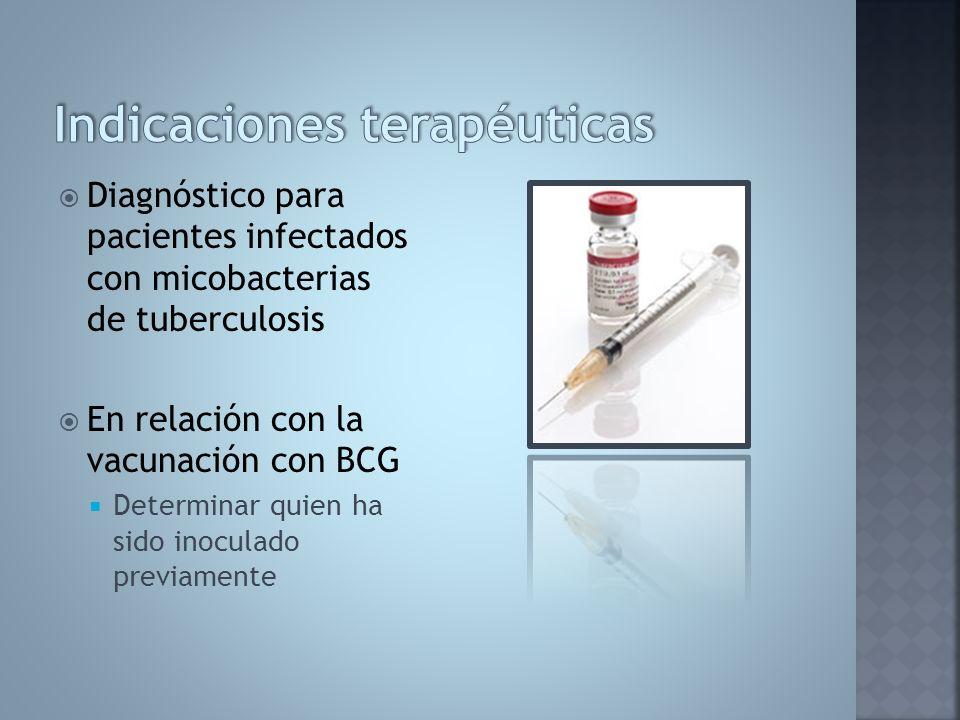 Diagnóstico para pacientes infectados con micobacterias de tuberculosis En relación con la vacunación con BCG Determinar quien ha sido inoculado previ