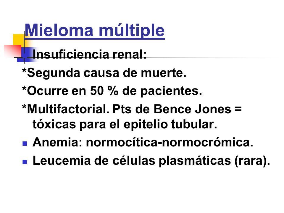 Mieloma múltiple Insuficiencia renal: *Segunda causa de muerte. *Ocurre en 50 % de pacientes. *Multifactorial. Pts de Bence Jones = tóxicas para el ep